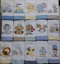 Baby Burp Cloths, Burp Cloth Set, Teen Sewing Projects, Baby Sheets, Cute Baby Gifts, Burp Rags, Baby Crib Bedding, Sewing Appliques, Machine Embroidery Patterns
