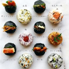 Rice balls (mixed with sesame oil) オイルおにぎり Temari Sushi, Asian Cookbooks, Rice Balls, Exotic Food, Cafe Food, Japanese Food, Quick Easy Meals, Food Hacks, Asian Recipes