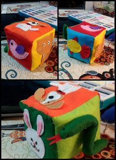 """I sewed this block to use instead of flashcards to the song from dreamenglish.com with my youngest students of 1-2 year old. The song goes:""""It's a dog woof woof. It's a cat miaow miaow. Etc. . . """""""