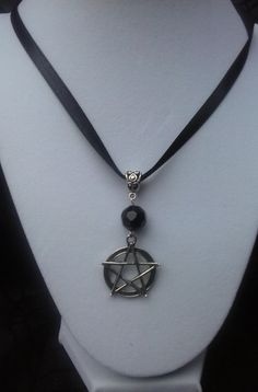 Obsidian Protection Charm Pendant Necklace by SpeakingofWitchWands **SOLD**
