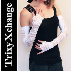 TRIXY XCHANGE - Long Wedding Gloves White Lace Gloves Lace Opera Gloves Bridal Elegant Stretchy Lace Custom Made Snow White on Etsy, $32.81 CAD