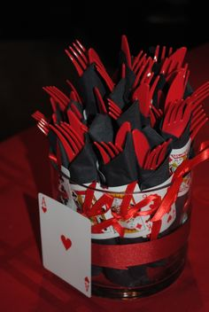 Napkin rollups with mini playing cards. Casino party!