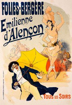 """Poster for the """"Folies-Bergere. Emilienne d'Alencon"""" by Jules Cheret.  (via: Corbis)"""