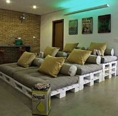Couchy thing. Would be great in the basement and a perfect spot for getting a group of people together to watch movies or even perfect for a girls night!