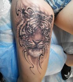 Anger Tiger Head With Lines