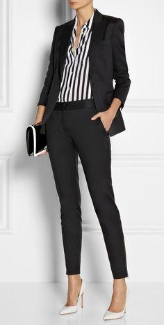 Stella McCartney | Iris wool-twill blazer, pants and bag, Equipment top, and Gianvito Rossi shoes. @netaporter