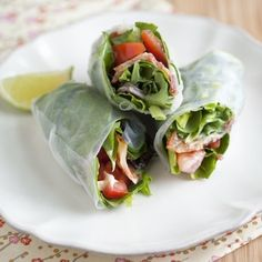 BLT Summer Rolls...perfect for summer! Use spicy mayo or regular with bacon, lettuce, tomato and I add some cilantro too!