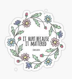 It hurt because it mattered -John Green Sticker Tumblr Stickers, Star Stickers, Diy Stickers, Printable Stickers, Laptop Stickers, Sticker Ideas, John Green Quotes, Planners, Aesthetic Stickers