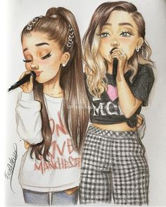 Ariana Grande and Miley Cirus Amazing artwork! Ariana Grande and Miley Cirus Ariana Grande Drawings, Ariana Grande Wallpaper, Best Friend Drawings, Girly Drawings, Ariana Grande Freund, Girly M, Celebrity Drawings, Drawings Of Celebrities, Digital Art Girl