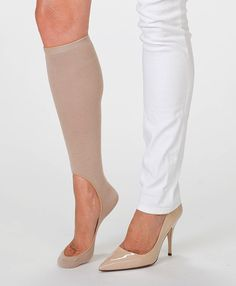 Knee High No-Show Socks. Just take a pair of mens knee high socks and cut a hole in the top! Great for wearing with open top shoes and long pants! They won't fall down like footsies.