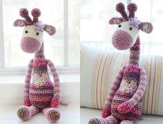 """Another crochet giraffe I made ♥ 28"""" long."""