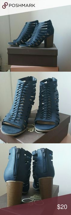 Heeled Block Sandals Navy blue, cut out design, man made materials upper, 3 1/2 inch heel; worn once; like new indigo rd. Shoes Heels