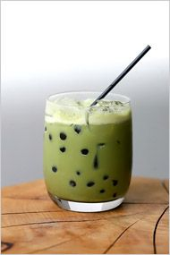 Green tea bubble tea, spiked!  You can find green tea powder and tapioca pearls online -- Amazon carries them. It's not bad without the tapioca bubbles, for that matter.