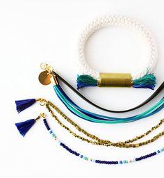 Gold Nugget Beaded Bracelet Boho Stackable by feltlikepaper