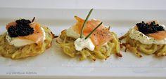 Potato Latkes with Smoked Salmon, Crème Fraiche, and Caviar