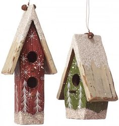 Use little bird house ornaments to deck your Christmas tree. HomeDecorators.com #holidays #holiday2014