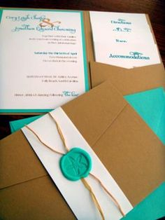 beach wedding invitations pocketfold: I designed, printed, cut, and assembled each invite by hand.  Supplies For 100 pocketfold invitations  Pockets & Paper From CardsandPockets.com This company