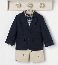 Janie Jack Nautical Days Outfit 2T 3 4 Anchor Shorts Blazer Gingham Shirt   eBay