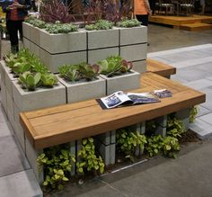 cinder block bench with planter
