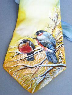 Men's hand painted necktie  Men necktie Red-breast by MagicBrushes