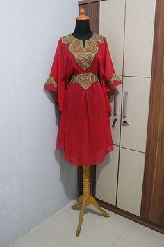 Tunic Caftan Moroccan Red Chiffon Party Maxi Dress Embroidery Gold Abaya #Handmade #TunicKaftan #Christmas