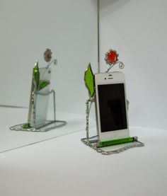Stained Glass iPhone Stand Smartphone Stand Green by GlassGadgets