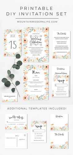 Planning a Spring, Summer, or vintage-inspired wedding? Save money by personalizing this printable Floral Peach DIY Wedding Invitation Set with your own wedding details! via @MtnModernLife