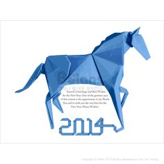 종이접기로 꾸며진 말 연하장. 신년 카드 디자인 시리즈 (CARD010114)		 Origami horse greeting cards. New Year Card Design Series.	 Copyrightⓒ2000-2013 Boians.com designed by Cho Joo Young.