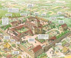 Monasterio Medieval Fantasy City, Fantasy Castle, Fantasy Map, Medieval Life, Medieval Castle, Medieval Art, Patio Edging, Ancient Greek City, Minecraft Medieval