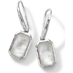 Ippolita Rectangle Clear Quartz & Mother-of-Pearl Earrings (3 730 ZAR) ❤ liked on Polyvore