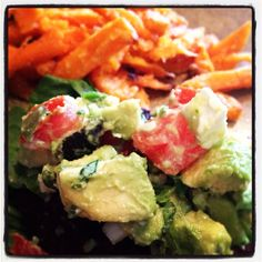 Tomato, advocado and feta salad. 1 small Roma tomato seeded 1 small advocado 2 green onions 1/4 cup cilantro Juice of a small line Sprinkle of feta crumbles Mix and refrigerate for at least an hour, and serve alive or over chicken breast or a hamburger party like I did.