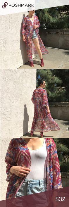 I just added this listing on Poshmark: NWOT Burgundy Floral Long Kimono/Duster. #shopmycloset #poshmark #fashion #shopping #style #forsale #Other