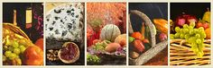 Collage format of a collection of related small paintings arranged into one larger painting that provides a statement piece representing a passion or interest of yours.  This image depicts an assortment of still life images of fresh fruits and accompanying props and other associated foods.