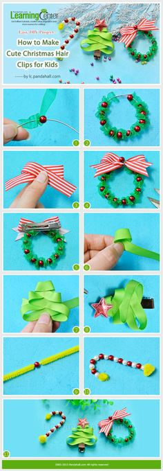 Easy DIY Project - How to Make Cute Christmas Hair Clips for Kids
