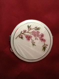 Silver Guilloche Enamel Compact with a Floral Design