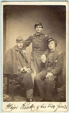 vintage cdv photograph of a three US Civil war officers ( Major Pick or Rick & two friends, both captains, dated August 1863 photographer: A Kientzle,Philadelphia, US
