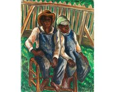 """Giclee fine art print reproduction from antique oil painting by African American artist Malvin Gray Johnson, titled """"Brothers"""" 1934.4x5 or 5x7(cropped) or 8x10 or 11x14 or 16x20 or 18x24 or 24x30 paper size with 1/4 inch white border (the image is set 1/4 inch within the exact paper size listed above).Somerset Velvet paper and archival pigment inks.***Also available on stretched canvas in the 8x10, 11x14, 16x20, and 18x24 sizes. Canvas Giclee prints are on 5/8"""" wooden stretcher bars with…"""