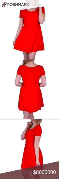 🆕 (2X) Plus Size Textured Skater Dress *Color: Red *Condition: New  *Size: 2X *Material: 95% polyester 5% spandex *Bust Size: 40 inches *Length: 36 inches long  ♥ I am from a smoke free home.  ♥ I have cats and a dog. I always make sure my clothing is fur free, but sometimes there could be a stray hair or two left. Dresses