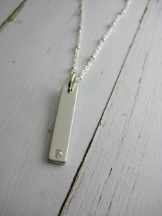 Silver bar charm. Chain up to 20 in (approx 51cm)