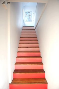 coral ombre stairs, Design Sponge on Remodelaholic Take The Stairs, Under Stairs, Painted Stairs, Stairs Architecture, Stair Detail, Interior Stairs, Entrance Hall, Diy Painting, Stairways