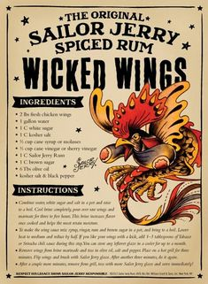 The Original Sailor Jerry Spiced Rum Wicked Wings Rum Recipes, Cooking Recipes, Recipies, Sailor Jerry Rum, Fresh Chicken, Grilled Chicken, Bbq Chicken, Spiced Rum, Chicken Wing Recipes