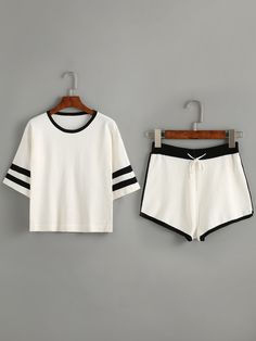 To find out about the Contrast Striped Trim Top With Drawstring Shorts at SHEIN, part of our latest Two-piece Outfits ready to shop online today! Cute Comfy Outfits, Cute Summer Outfits, Trendy Outfits, Cool Outfits, Pajama Outfits, Crop Top Outfits, Teen Fashion, Korean Fashion, Fashion Outfits