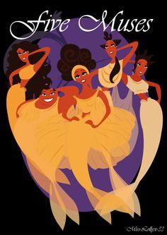 Melpomene, Thalia, Calliope, Clio, and Terpsichore.