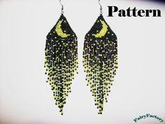 Pattern Moonlight Sonata seed beads brick stitch earrings. €4.00, via Etsy.
