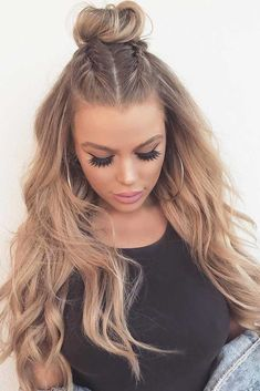 Top Knot Half Up Hairstyles for Long Hair picture1