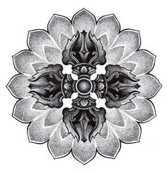 mandala tattoo, dotwork, sketch, vajra on Behance