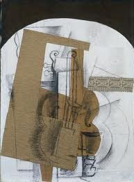 The Violin. Georges Braque (French, Date: early Medium: Cut and pasted papers. invading time and space within the piece so why not invade the viewers space by bringing in the illusion of three dimensional petruding shapes Pablo Picasso, Picasso And Braque, Cubist Artists, Cubism Art, Henri Matisse, Rene Magritte, Georges Braque Cubism, Synthetic Cubism, Cleveland Museum Of Art