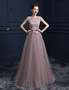 : Pink Prom Dresses 2017 Long Tulle Graduation Dress Floor Length Lace Beading Applique Cut Out Party Dresses Prom Dresses 2018, Formal Evening Dresses, Wedding Party Dresses, Sexy Dresses, Beautiful Dresses, Bridesmaid Dresses, Prom Formal, Sleeve Dresses, Pink Dresses