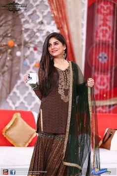 Sanam Baloch. Pakistani Actress Pakistani Wedding Outfits, Pakistani Bridal Wear, Pakistani Dresses, Muslim Women Fashion, Indian Fashion, Simple Dresses, Nice Dresses, Awesome Dresses, Sharara Designs