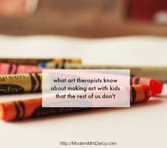 What art therapists know about making art with kids that the rest of us don't. These tips are easy to implement, because the hardest part is knowing what to do. This is an interesting article Therapy Activities, Art Activities, Play Therapy, Art Therapy Projects, Therapy Ideas, Creative Arts Therapy, Make Art, How To Make, Expressive Art
